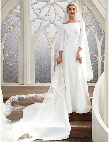 cheap Wedding Dresses-Meghan Markle Style A-Line Bateau Neck Chapel Train Satin Made-To-Measure Wedding Dresses with by LAN TING BRIDE® / Royal Style