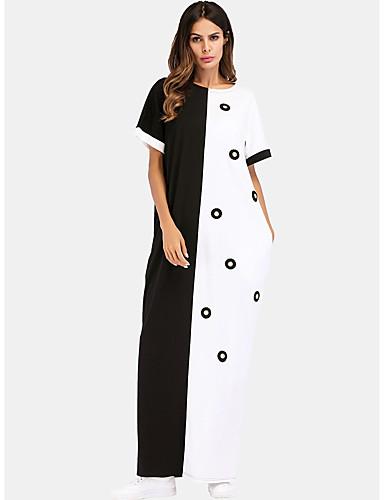 voordelige Maxi-jurken-Dames Grote maten Vintage Pofmouw Katoen Tuniek Jurk - Effen, Geplooid Boven de knie Zwart & Wit