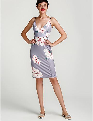 Mulheres Para Noite Feriado Moda de Rua Bainha Vestido Floral Cintura Alta Acima do Joelho