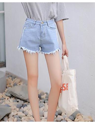 Pentru femei Punk & Gotic Mărime Plus Size Bumbac Pantaloni Scurți Pantaloni - Mată Alb negru, Franjuri Albastru Deschis S
