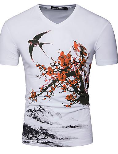 tee shirt homme fleur animal imprim basique chinoiserie col en v blanc l manches courtes. Black Bedroom Furniture Sets. Home Design Ideas