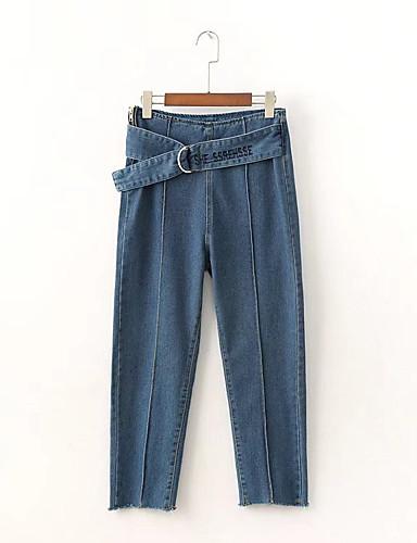 Pentru femei Activ Mărime Plus Size Bumbac Blugi Pantaloni - Franjuri, Mată Negru & Roșu