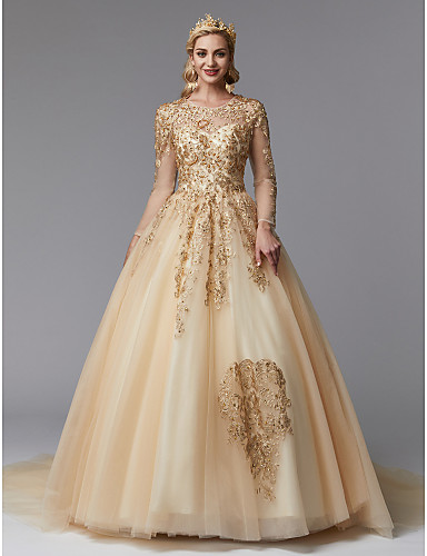 33c2dca90d69 play video. cheap Wedding Dresses-Ball Gown Jewel Neck Cathedral Train Lace  / Tulle ...