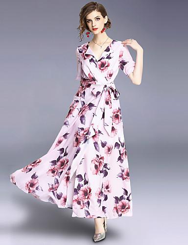 Pentru femei Boho / Șic Stradă Swing Rochie - Imprimeu, Floral Maxi