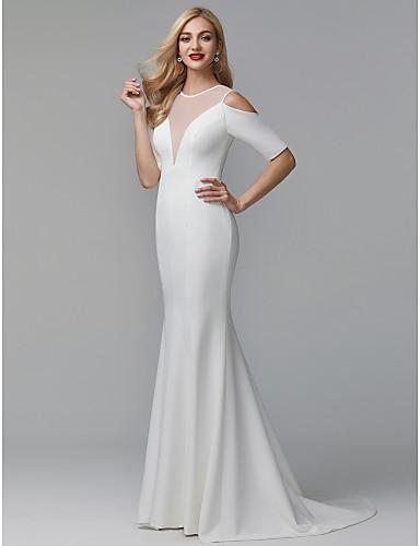 Sereia Decorado com Bijuteria Cauda Escova stretch chiffon Transparente Evento Formal Vestido com Pregas de TS Couture®