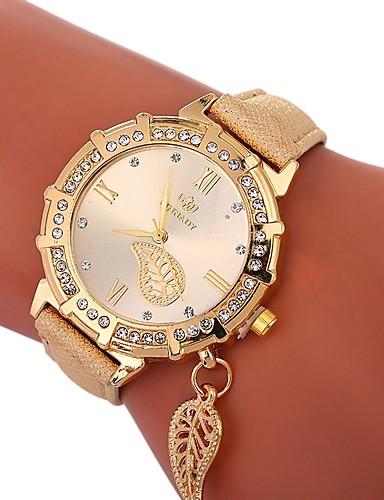 Xu™ Pentru femei Ceas de Mână Quartz Creative imitație de diamant Mare Dial PU Bandă Analog Lux Frunze Negru / Alb / Albastru - Rosu Verde Albastru Un an Durată de Viaţă Baterie