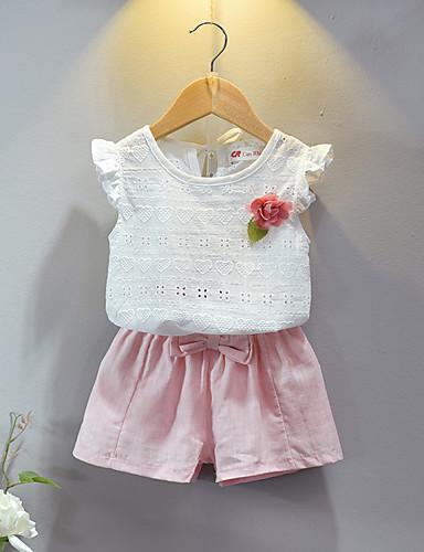 Copil Fete De Bază Mată Plisată Fără manșon Scurt Scurt Bumbac Set Îmbrăcăminte