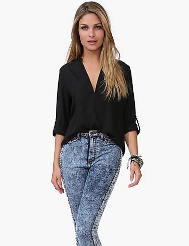 povoljno Majica-Majica Žene Izlasci Jednobojni V izrez Crn