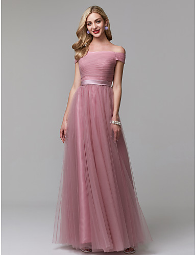17cc677b86a8 A-Line Off Shoulder Floor Length Tulle Prom   Formal Evening Dress with  Sash   Ribbon   Ruched by TS Couture®