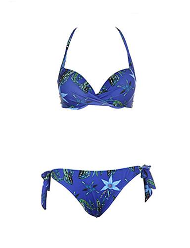 Pentru femei Boho Halter Albastru piscină Τρίγωνο Cheeky Bikini Costume de Baie - Floral Tropical Leaf Imprimeu L XL XXL / Sexy