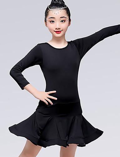 voordelige Shall We®-Latin dans Jurken Meisjes Opleiding / Prestatie Melkvezel Satijnen strik / Ruches Lange mouw Natuurlijk Kleding