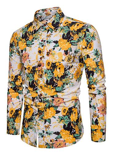hesapli Erkek Gömlekleri-Erkek Gömlek Desen, Çiçekli Temel Sarı / Uzun Kollu / Bahar / Yaz