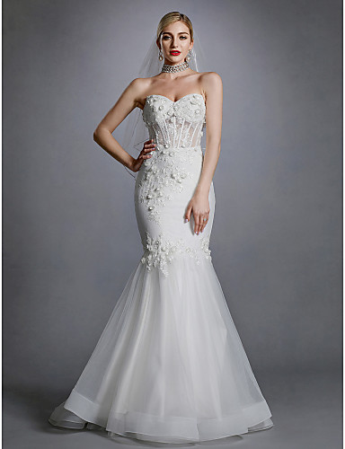 a975ad20e7 Mermaid   Trumpet Sweetheart Neckline Sweep   Brush Train Lace   Tulle  Made-To-Measure Wedding Dresses with Appliques   Lace by LAN TING BRIDE®    Open Back