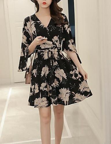 Pentru femei Vintage / Șic Stradă Mărime Plus Size Larg Pantaloni - Floral Imprimeu Talie Înaltă Negru / În V / Ieșire