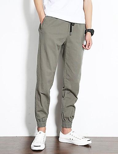 Bărbați De Bază / Șic Stradă Bumbac Pantaloni Chinos Pantaloni - Mată Negru XXXL / Primăvară