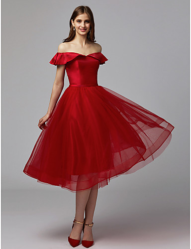 a61a1909e8a A-Line Off Shoulder Knee Length Tulle   Stretch Satin Cocktail Party ...
