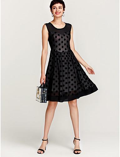 Women's Plus Size Daily Going out Vintage Street chic A Line Dress - Polka Dot Black Black XL XXL XXXL