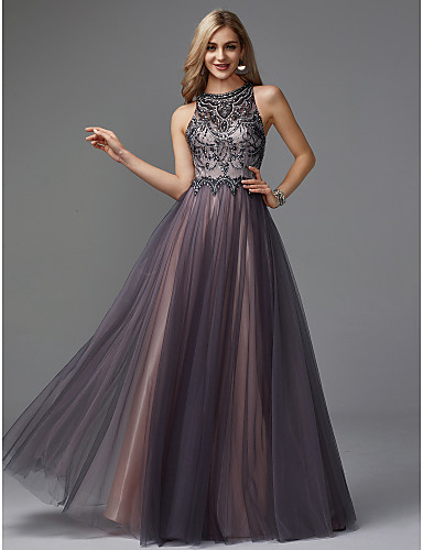 Oscar de la Renta Style A-Line Jewel Neck Floor Length Tulle Keyhole Prom    Formal Evening Dress with Beading by TS Couture® 8cc2b15d7