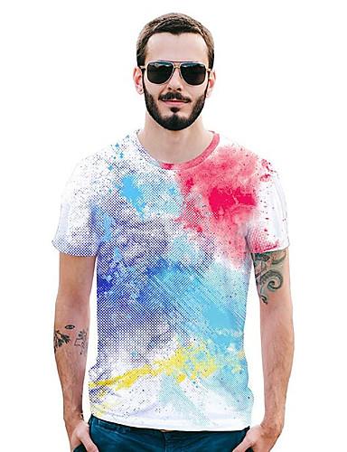 Bărbați Tricou Activ / Șic Stradă - Buline / Geometric / Curcubeu Imprimeu