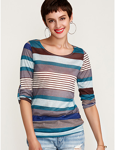 cheap Women's T-shirts-Women's Daily Street chic Butterfly Sleeves T-shirt - Striped Print Blue XXL / Fine Stripe