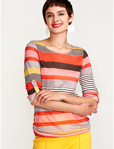 billige Dametopper-Sommerfuglermer T-skjorte Dame - Stripet, Trykt mønster Gatemote Rød / fin Stripe