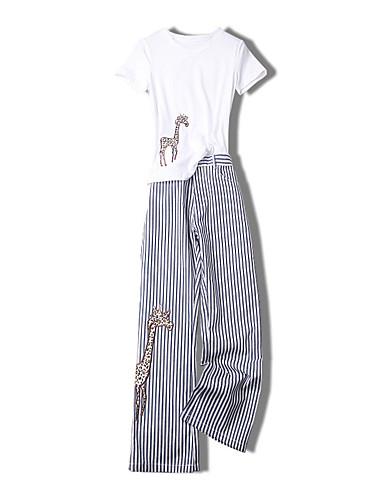 Pentru femei Mărime Plus Size Mâneci Bufante Bumbac Activ Zvelt Set - Mată / Dungi, Pantaloni Franjuri