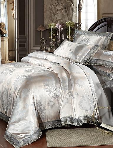 cheap Room-Duvet Cover Sets Luxury Polyster Printed & Jacquard 4 PieceBedding Sets / 300 / 4pcs (1 Duvet Cover, 1 Flat Sheet, 2 Shams)