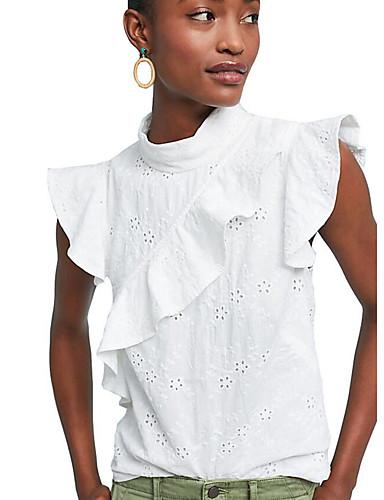 cămașă pentru femei - gât rotund solid colorat