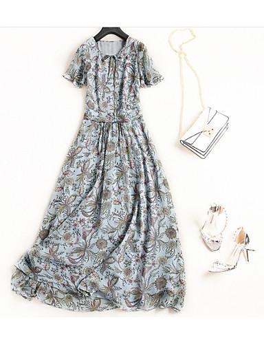 e7cb43454 فستان نسائي على شكل تيشيرت / متموج أساسي / النمط الصيني كشكش / Ruched / محاك