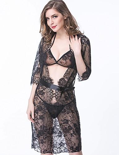 Pentru femei Super Sexy Jartieră & Suport / Bretele Asortate / Satin & Mătase Pijamale - Dantelă / Funde / Imprimeu Floral / Jacquard / Brodată / V Adânc