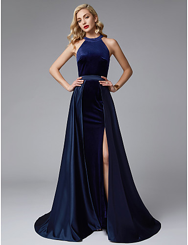 A-Line Jewel Neck Sweep   Brush Train Satin   Velvet Two Piece Prom   Formal  Evening Dress with Split Front by TS Couture® ead876c41632