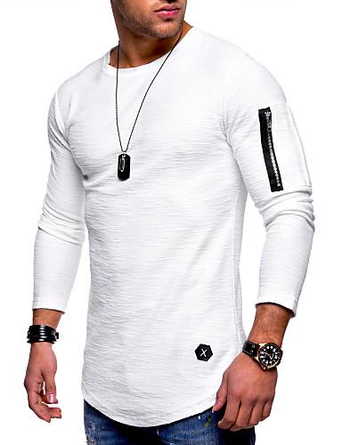 男性用 プラスサイズ Tシャツ ベーシック / 軍隊 ラウンドネック ソリッド コットン ブラック XL / 長袖