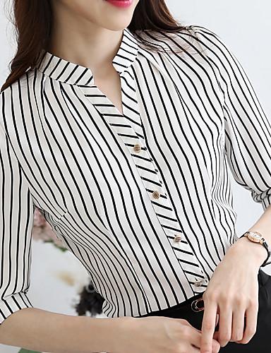 abordables Camisas y Camisetas para Mujer-Mujer Negocios / Básico Borlas Camisa, Escote en Pico Delgado A Rayas Blanco L