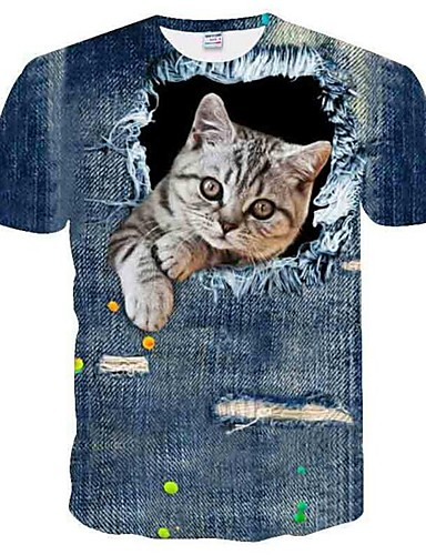 billiga $15-$20-Nät, Djur Plusstorlekar T-shirt Herr Rund hals Grå XXXL / Kortärmad / Sommar