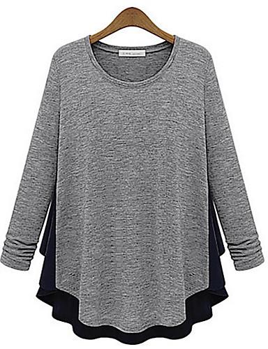 billige Topper til damer-Bomull T-skjorte Dame - Ensfarget / Fargeblokk Grå M