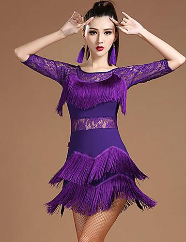 voordelige Shall We®-Latin dans Jurken Dames Prestatie Modaal Kant / Kwastje Halve mouw Natuurlijk Kleding