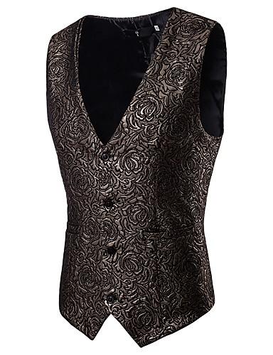 voordelige Herenblazers & kostuums-Heren Feest / Feestdagen Street chic / Punk & Gothic Lente & Herfst Normaal Vest, Bloemen V-hals Mouwloos Polyester Jacquard Goud / Zwart / Zilver / Slank