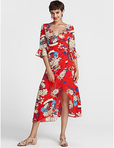 374fa6973ea Women s Floral Plus Size Daily Street chic Maxi Skater Dress - Floral Print  V Neck Summer Red Light Green Khaki XL XXL XXXL