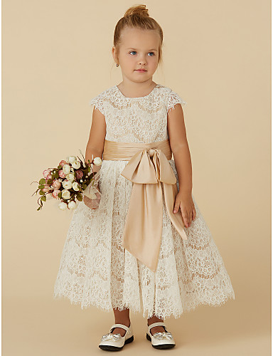 A-Line Tea Length Flower Girl Dress - Lace / Taffeta Short Sleeve Jewel Neck with Bow(s) / Sash / Ribbon by LAN TING BRIDE® / Spring / Summer / Fall