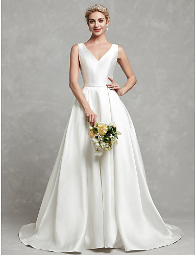 74200d39d448 Meghan Markle Style A-Line V Neck Chapel Train Satin Made-To-Measure Wedding  Dresses with Buttons   Lace   Sash   Ribbon by LAN TING BRIDE®