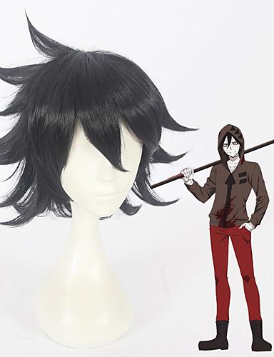 voordelige Cosplay Pruiken-Angels of Death Zack Cosplay Cosplaypruiken Allemaal 12 inch(es) Hittebestendige vezel Zwart Anime