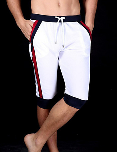 Men's Cotton Sweatpants / Shorts Pants - Color Block White / Sports