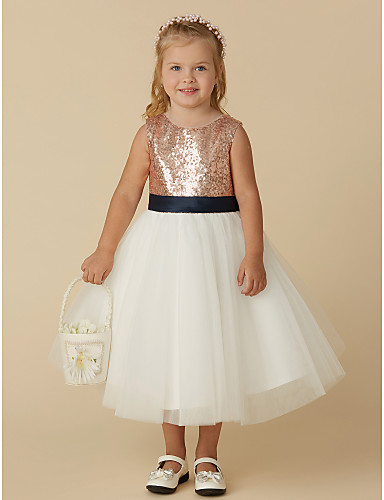 a8dea7aa05 Princess Tea Length Flower Girl Dress - Tulle   Sequined Sleeveless Jewel  Neck with Bow(s)   Paillette by LAN TING BRIDE®