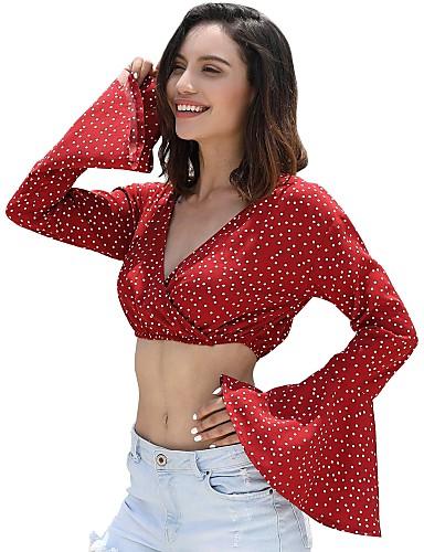 abordables Camisas y Camisetas para Mujer-Mujer Playa Algodón Camisa, Escote en Pico A Lunares Verde Trébol M