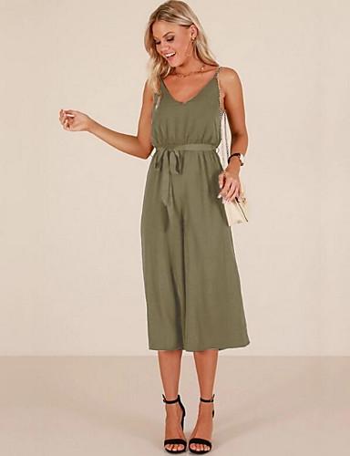 0962e72b86 Women s Daily Basic Strap Pink Wine Army Green Wide Leg Romper