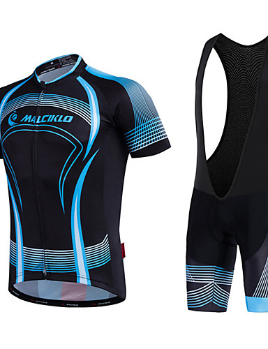 cheap Cycling Clothing-Malciklo Men's Cycling Jersey with Bib Shorts - White / Black Bike Bib Shorts Jersey Quick Dry Anatomic Design Reflective Strips Sports Lines / Waves Mountain Bike MTB Road Bike Cycling Clothing