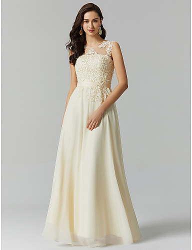 cheap Evening Dresses-A-Line Jewel Neck Floor Length Georgette / Beaded Lace See Through Prom / Formal Evening Dress with Beading / Appliques by TS Couture®