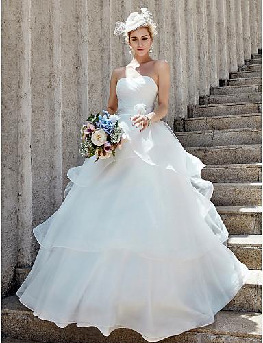 Haine Bal In Formă de Inimă Lungime Podea Organza Made-To-Measure rochii de mireasa cu Flori / Cruce / Niveluri de LAN TING BRIDE®