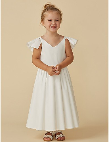 8aeaa92e246 A-Line Tea Length Flower Girl Dress - Chiffon Short Sleeve V Neck with  Ruffles by LAN TING BRIDE®