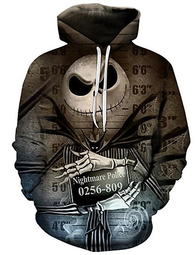 cheap Happy Halloween-Men's Plus Size Active / Exaggerated Long Sleeve Loose Hoodie - 3D / Cartoon Print Hooded Brown 4XL / Fall / Winter